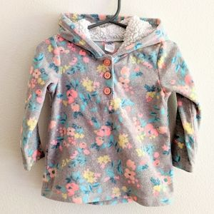 Baby Floral Sherpa Fleece Button Hoodie 24 Months